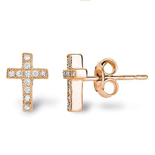 14k Rose Gold Plated Sterling Silver Cubic Zirconia Classic Mini Cross Stud Earrings Silver Little Cross