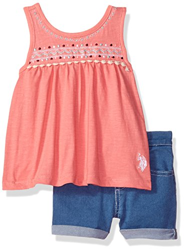 Girls Fashion Top and Short Set, Knit Babydoll Embro Yoke Tank Denim Short Conch Shell, 12M (Baby Girls Tank Top)