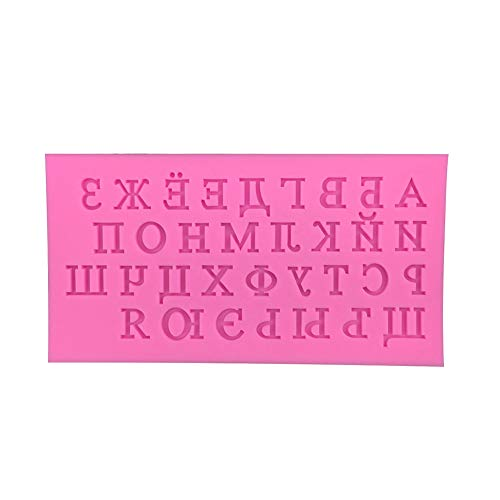 yanQxIzbiu Silicone Mold,DIY Cake Mold with Russian Letters for Fondant Decorating Chocolate Mold Baking Tool Pink