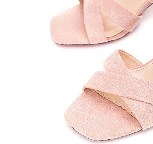 Sandali tacco basso donna basso con casual alti Sandali alla Sandali Rosa DHG Tacchi 36 estivi piatti a moda tacco da Pantofole vCIZCaxqw