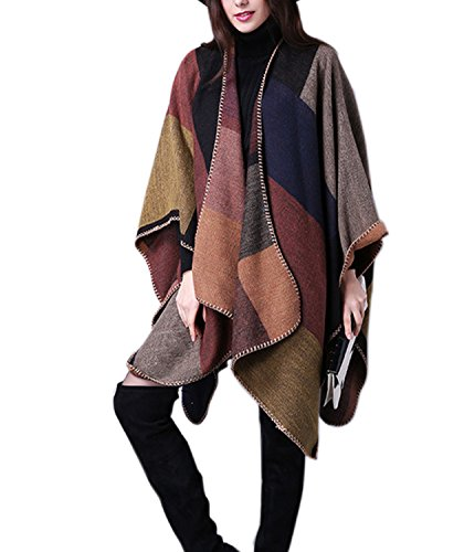 Engood Women's Winter Knit Open Floral Printed Cloak Coat Shawl Pashmina Poncho Cape Cardigan Sweater Coat Khaki