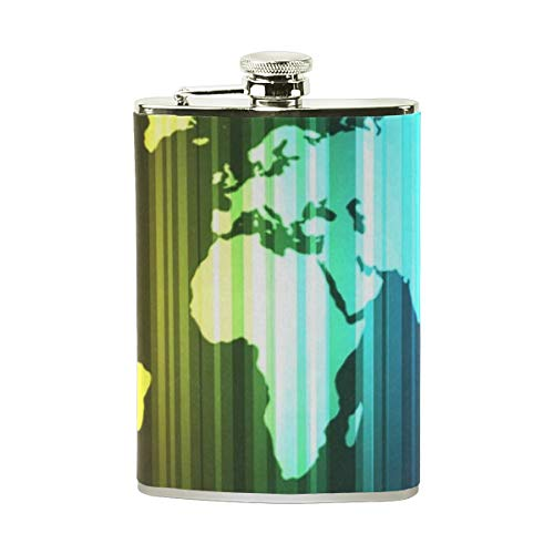 Hip Flask 8 Oz Modern Rainbow Striped World Map Stainless Steel & PU Leather Portable Liquor Flask Pocket Flagon Wine Pot for Men/Women
