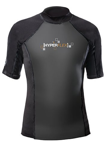 Hyperflex Wetsuits Men's Polyolefin 1.5mm 50/50 S/S Shirt, Black, Large - Surfing, Windsurfing & Wakeboarding ()