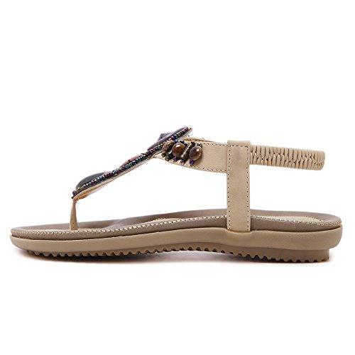 Enllerviid Vrouwen Bohemian Kralen T-riem Thong Platte Sandalen Clip Teen Strand Schoenen A3 Abrikoos