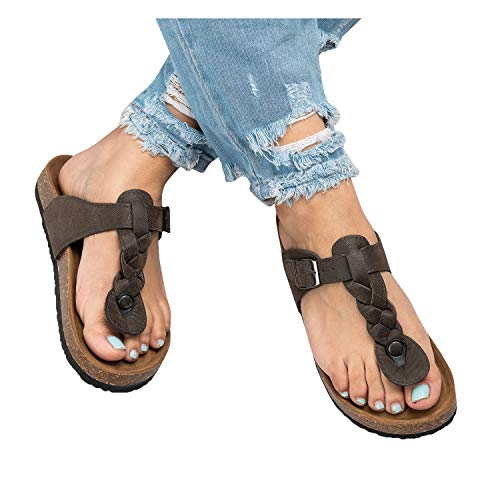 - Ruanyu Womens Thong Sandals Flatform Summer Comfortable Braided T-Strap Sandals