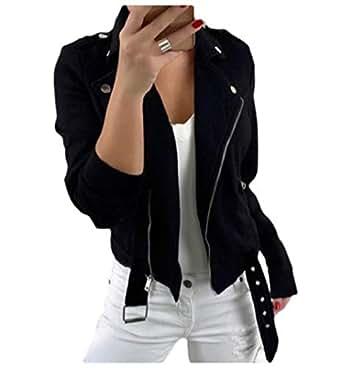 Howely Women Zipper Skinny Lapel Pure Colour Bomber Wrap Coat Jacket Coats Black 2XL