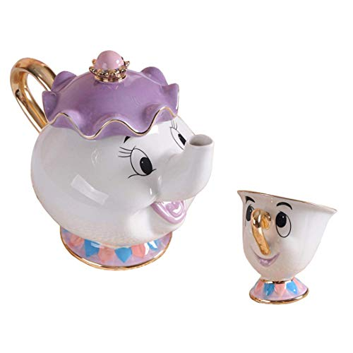 StMandy Beauty and The Best Tea Set Mrs Potts TeaPot and Chip Mug Sculpture ceramic Tea Set Figurilla
