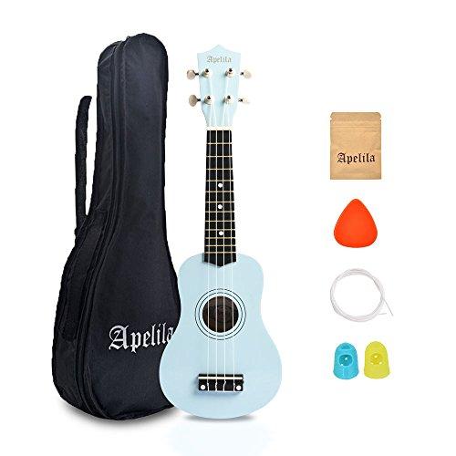 Apelila 21 inch Soprano Ukulele Acoustic Mini Guitar Musical Instrument with Bag, Pick, Strings, for Beginner, Kid, Starter, Amateur (Light Blue)