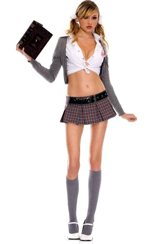 [4 PC. Cute and Sexy Cardigan and Plaid School Girl Set - Small/Medium - Multicolored] (School Girl Costume Accessories)