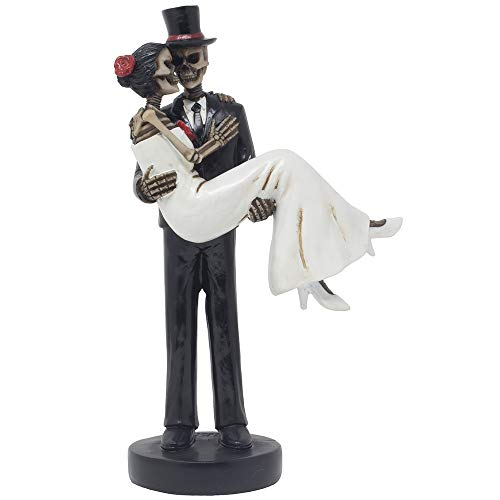 Spooky Skeleton Newlyweds with Groom Carrying Bride Across The Threshold Statuette for Wedding Cake Topper, Halloween Party Decoration or Scary Gothic Décor Figurines As Wedding Gifts for Couples ()