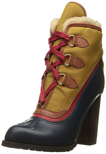 Alpine Leather Boot (Luichiny Women's Alpine Snow Ankle Bootie, Navy/Mustard, 7 M US)