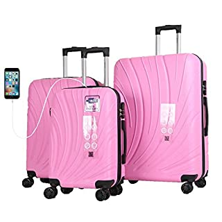 "Mirage Shell ABS Luggage Sets Hardside 360 Spinner Lightweight Durable Spinner Suitcase 20"" 24"" 28"", with Combination Lock and USB Port 3PCS Set (Pink)"
