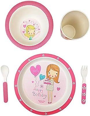 Vajilla infantil bambú bebé niño niña conjunto FIMBOO platos vaso y cubiertos bamboo apto lavavajillas set servicio mesa Material ecológico sin BPA ...