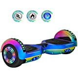"""NHT 6.5"""" inch Aurora Hoverboard Self Balancing Scooter with Colorful LED Wheels and Lights- UL2272 Certified Carbon Fiber Style Available (Rainbow) (Rainbow-Blue)"""