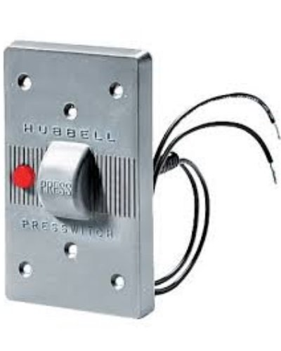 "Hubbell Wiring Systems HBL1785 Presswitch Neoprene FS/FD Box Weatherproof Switch Plate with 125V Red Pilot Light, 2-15/16"" Width x 4-5/8"" Height, Gray"