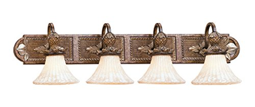 Venetian Patina 4 Light 400W Bathroom Light with Medium Bulb Base and Vintage Carved Scavo Glass from Savannah Series