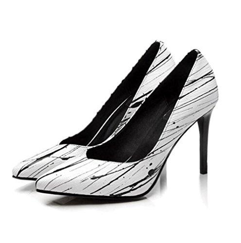 Cuir Et Bout Fête Véritable Pointu Aiguille 36to40 Blanc Pour Soirée Pompes Talon Taille Femmes Chaussures Bureau wPnOk80