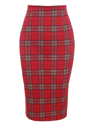 Choies Womens Polyester Plaid Pencil