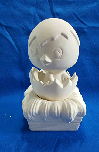 Hatching Chick on Nest Music Box Bisque Only unpainted ceramic bisque ready to be painted (Bisque Box Music)