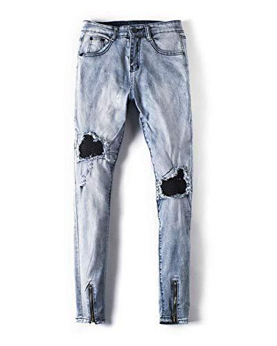 Flacos Trousers Rasgados 28 Hole De Skinny Leisure Hombres Mezclilla Vintage Pants Pants Ssige Denim Fashion Pantalones Jeans Los De Elásticos Xqxw8CHCU