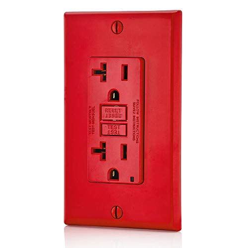 Leviton GFNT2-R Self-Test SmartlockPro Slim GFCI Non-Tamper-Resistant Receptacle with LED Indicator, Wallplate Included, 20-Amp, Red