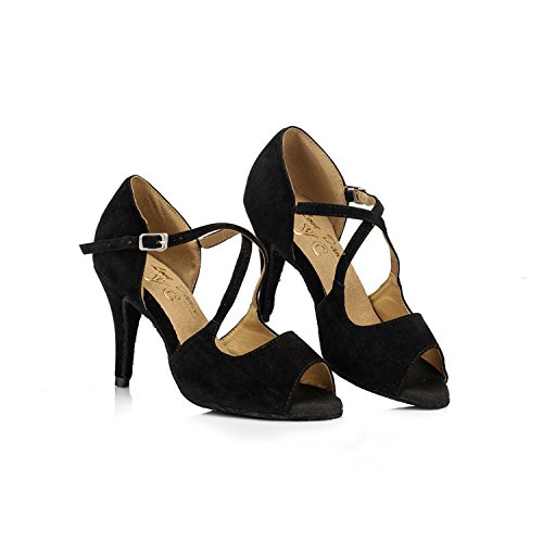 5 5 Wedding Taogo Sandals Suede Leather Ballroom Latin MINITOO Stiletto Dance UK Ladies Heel Black TH050 High P6CZFq