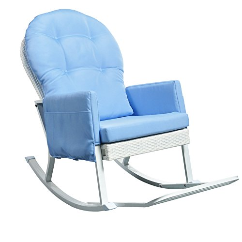 Wicker Rocking Chair Glider Rocker for Outdoor Patio with Footrest and Armrest Organizer (Blue Cushions)