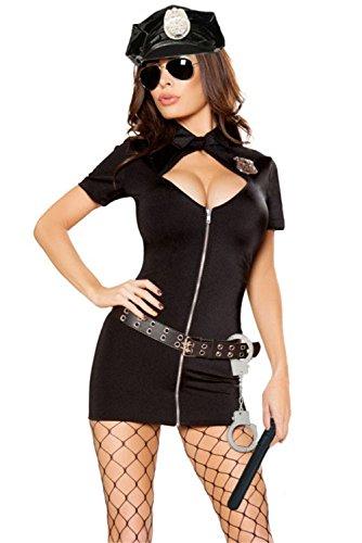 [FiveFour Women's Halloween Costume Bodycon 6pcs Police Hottie Costume Dress] (Borderlands 2 Costumes For Sale)