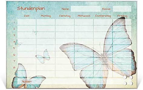 BANJADO Stundenplan abwischbar aus Glas | Terminkalender magnetisch mit Stift | Planer 45cm x 30cm für Mädchen und Jungen mit Motiv Blaue Schmetterlinge | Wochenplaner mit Notizen