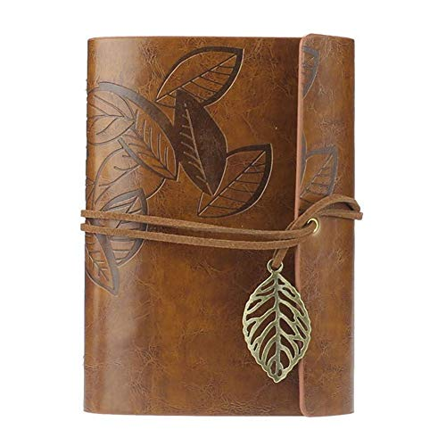 Ffpazig Vintage Style Leather Cover Notebook Writing Diary Bound Notebook