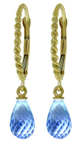 14k Solid Gold Rope Leverback Earrings with Blue Topaz