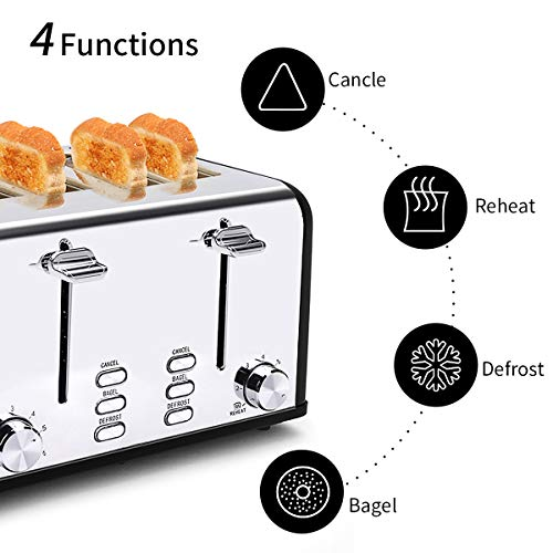 Keenstone 4 Slice Toaster, Stainless Steel Toasters 1.5\'\' Wide Slot, Defrost, Reheat, Bagel, Cancel Function, 6 Different Shade Settings (Black)