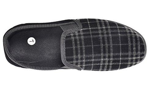 Face Ms60 Check Slippers Mules Elastic Comfy Twin True Mens Shoes black zwaxPqXzdH