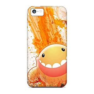 Unique Design Iphone 5c Durable Tpu Case Cover Orange Smiling