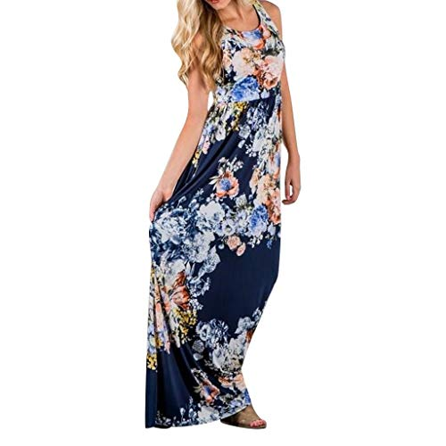 Women Floral Print Sleeveless Loose Maxi Hawaiian Bohemian Dress with Pockets