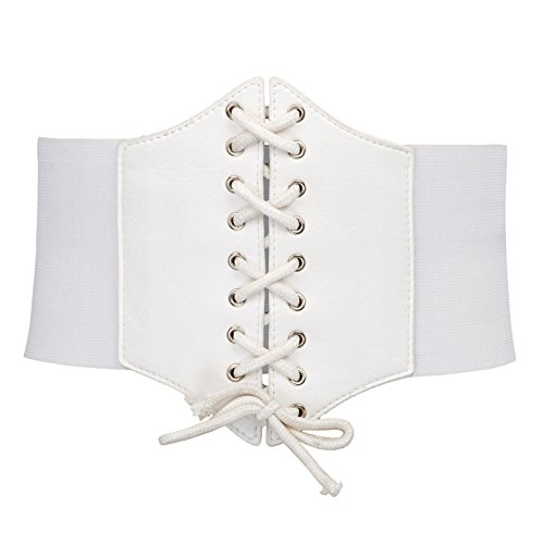 (Fashion Cosplay Dress Wide Corset Waist Belt(L,White 499))