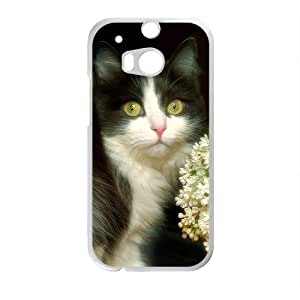 Flowers Cat White Phone Case for HTC One M8