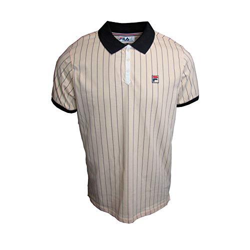 (Fila Vintage White Line Mens BB1 Stripe Tennis Polo Shirt Sand/Black XL)