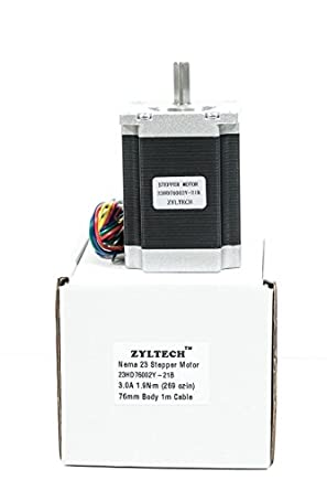 Zyltech Nema 23 - Motor paso a paso (3,0 A, 1,3 Nm, 76 mm, con ...