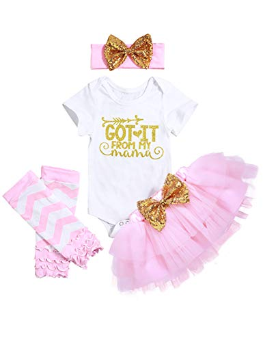 Mother's Day Outfit Newborn Baby Girls Clothes Rompers Tutu Skirts Dresses Outfit Headband Leg Warmer Clothes Sets