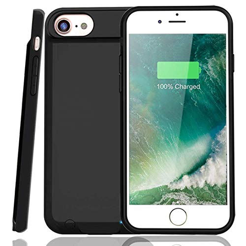 iPhone 7/8 Battery Case 3000mAh Rechargeable Protective Charging Case Slim for Apple iPhone 7/8 (4.7 inch), Support All Types Headphones, Answer Call and Sync-Through (Black)