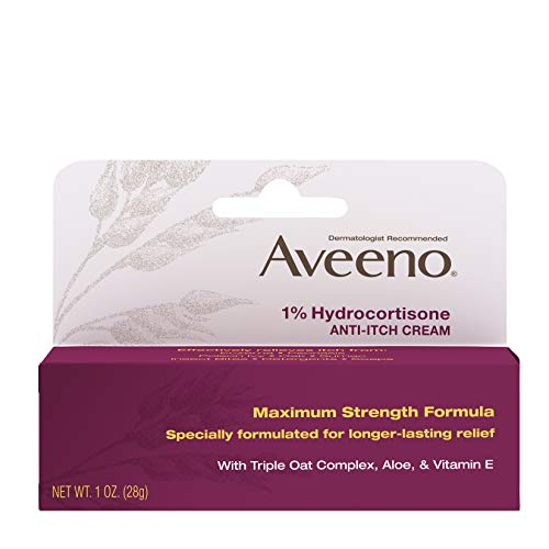 Aveeno Maximum Strength 1% Hydrocortisone Anti-Itch Cream with Pure Oat Essence, Triple Oat complex, Aloe & Vitamin E, For Itch, Rash & Redness Relief, 1 oz (Pack of 2) (Best Over The Counter Steroid Cream)