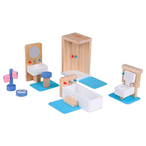 SS SIAYI Wooden Dollhouse Bathroom Furniture Set,Pretend Play Miniature Playhouse Toys Including Shower, Toilet, Bathtub and Towel Rack,Ideal Educational Kids Gift