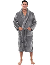 Mens Solid Color Fleece Robe, Shawl Collar Bathrobe