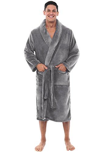 Del Rossa Mens Fleece Robe, Shawl Collar Bathrobe, Large XL Steel Grey (A0114STLXL)