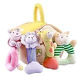 iPlay, iLearn 4 Plush Baby Soft Rattles Set, Developmental Toy w/ Hand Grip, Natural Cotton Teether...