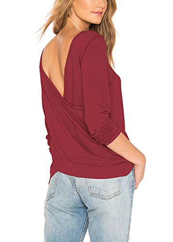 Bestisun Ladies Pullover Sweaters,Juniors Long Sleeve Crew Neck Banded Bottom Splicing Shirt Going Out Leggings Tops Warm Modal Tunic Sweatshirts Comfy Soft Tunic Sweater Wine L
