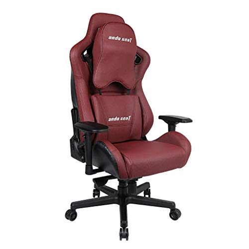 [Upgrade to Large Size Memory Foam Pillow] Anda Seat Premium Gaming Chair Kaiser Series High Back 400lb Racing Style Seat,Computer Office Chair with Carbon Fiber Leather and Pillow Lumbar Support,Red ()