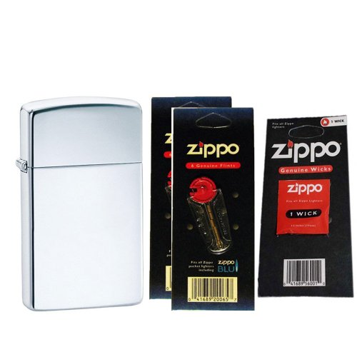 Zippo 1610 Slim High Polish Chrome Plain Windproof Pocket Lighter with Two Flint Card and One Wick Card