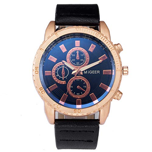 Clearance! Hot Sale! ❤ High-End New Geneva Men's Leather Strap Stainless Steel Quartz Analog Watch for Father Men Boys Boyfriend Lover's Birthday Anniversary Gift Under 10 Dollars